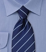Elegant Striped Necktie in Navy and Light Blue