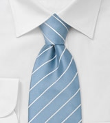 Sky Blue and White Striped Necktie