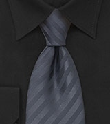 Dark Gray Necktie With Stripes