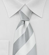 Wide Striped Tie in Gray White