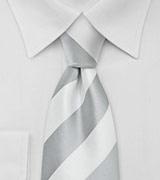 Wide Striped Tie in Gray White