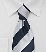 Striped Tie in Navy and Silver