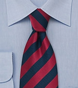 Dark Blue and Cherry Striped Tie