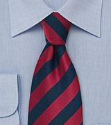 Dark Blue and Cherry Striped Tie