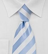 Mens Striped Tie Light Blue White