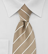 Striped Tie in Flax-Brown and White