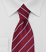 Cherry Red and Sky Blue Striped Tie