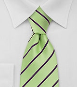 Mens Necktie in Mint Green and Purple