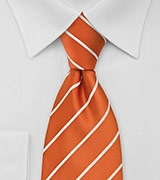 Persimmon Orange Striped Neck Tie