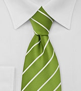 Grass Green and White Striped Tie