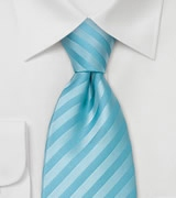 Striped Tie in Aqua Blues