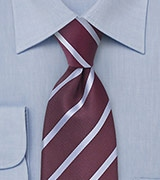 Deep Burgundy and Grey Striped Tie