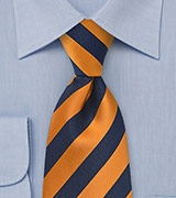 Tangerine Orange and Navy Tie