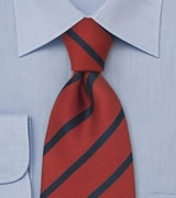 Preppy Striped Tie in Red and Dark Navy