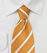 Amber Yellow and White Striped Tie