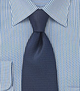 Micro Check Tie in Dark Midnight Blue