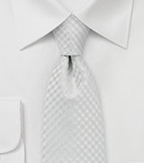 Festive Bone White Gingham Check Tie