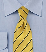 Menswear Striped Tie in Yellow and Dark Navy