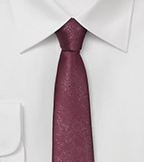 Deep Burgundy Faux Leather Skinny Tie