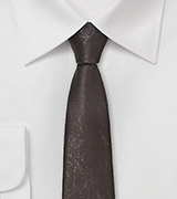 Dashing Dark Taupe Necktie in Worn Leather Look