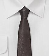 Dashing Dark Taupe Necktie in Worn Leather Look