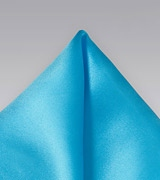 Silk Pocket Square in Mermaid Blue
