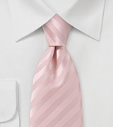 Narrow Tie in Solid Pastel Pink