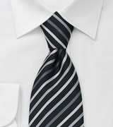 Black Necktie With Silver, Gray, and White Stripes