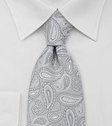 Paisley Mens Tie in Silver Gray