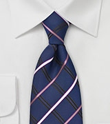 Navy, Silver, Black, Pink Checkered Tie