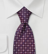 Designer Tie in Navy, Red, Silver
