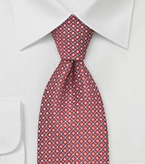 Geometrically Patterned Tie in Red and Silver