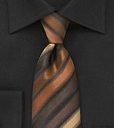 Striped Tie in Espresso, Copper, and Latte