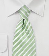 Mint Green and White Striped Tie