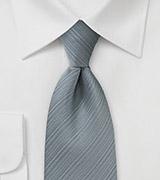 Silver Gray Textured Striped Tie