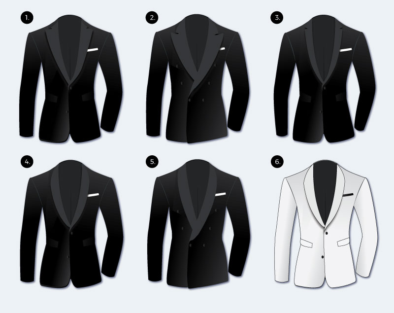 styled of different black tie tuxedo jackets
