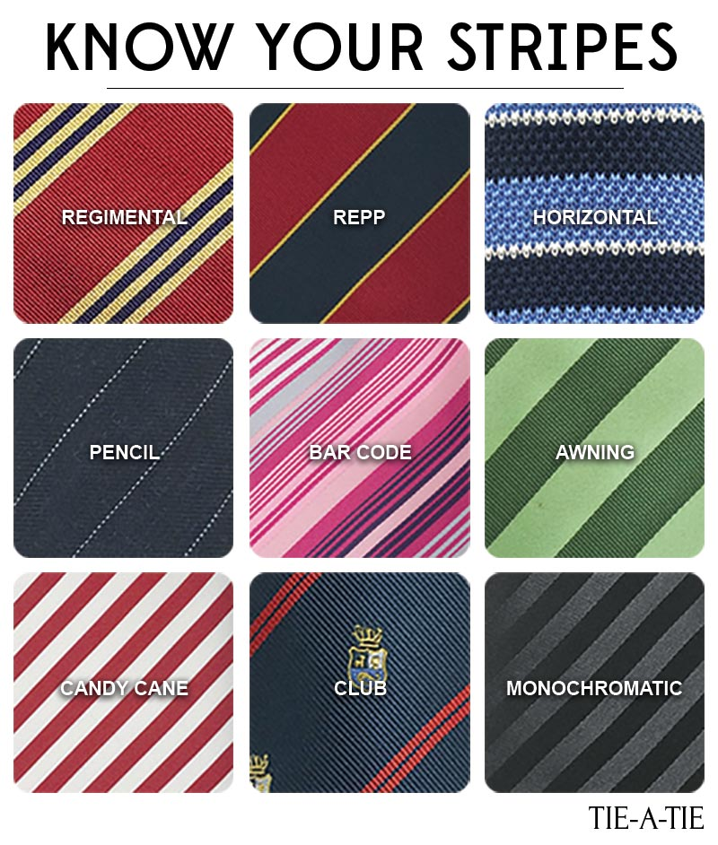 different styles of striped ties