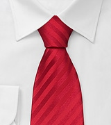 Solid Red Necktie With Subtle Stripes