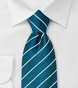 Striped Necktie in Sapphire Blue and White