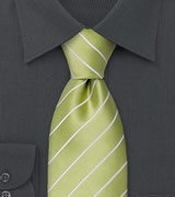 Trendy Mens Tie in Lime Green & White