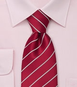 Crimson-Red Tie with Narrow Silver Stripes
