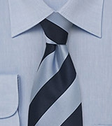Wide Striped Blue Necktie