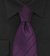 Mens Tie Eggplant Purple & Black