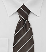 Dark Brown and Silver Striped Mens Tie