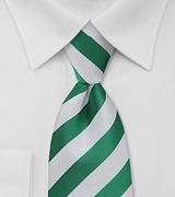 Men's Striped Tie in Yacht Green and White