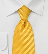 Saffron Yellow Striped Tie