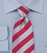 Elegant Striped Tie Red Silver