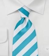 White and Aqua Striped Tie