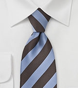 Striped Tie in Blue and Brown