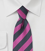 Diagonal Striped Tie in Fuchsia and Navy